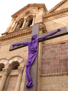 This is a lenten cross at the Cathedral Basilica of St. Francis of Assisi in Santa Fe, New Mexico. It is hard to imagine an organization more effective at keeping its members divorced from reality than the Catholic Church.