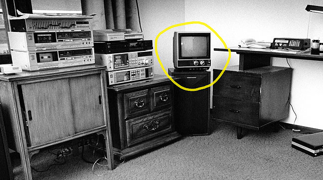 Circled in yellow in this 1988 image is my first television, an 11-inch Panasonic. Abby and I watch everything these days on a 50-inch plasma screen.