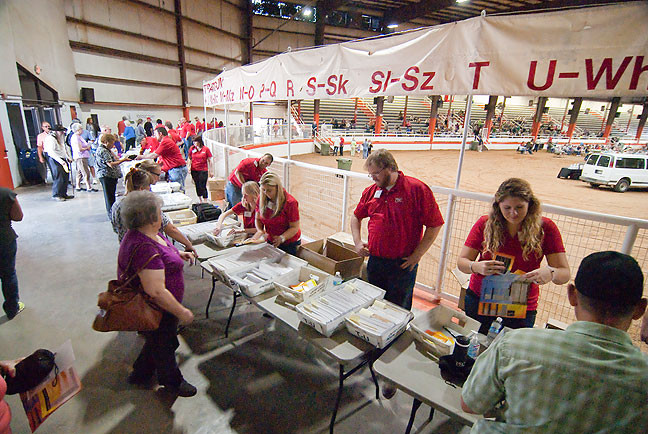 People's Electric Cooperative shareholders flock to PEC Day 2015 in the Pontotoc County Agri-Plex's main barn.