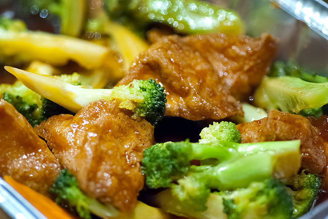 This is my broccoli with fried tofu. It is an amazing meal.
