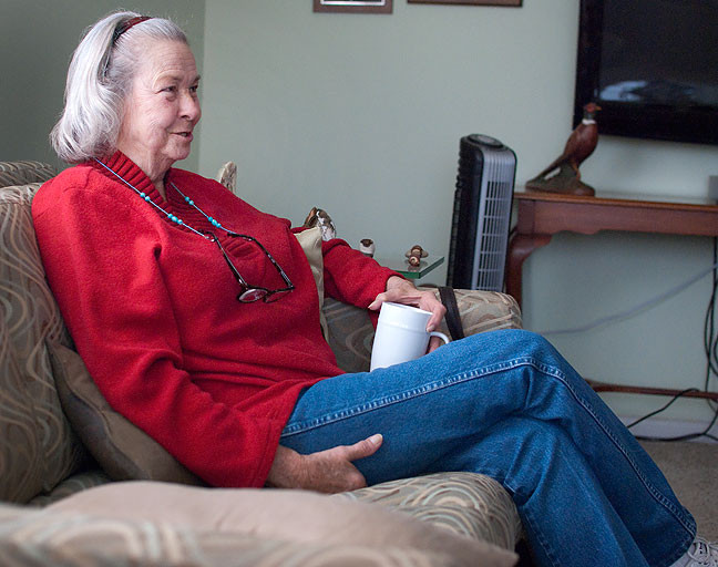 Abby's aunt Judy sits in our living room chatting with Abby Sunday.