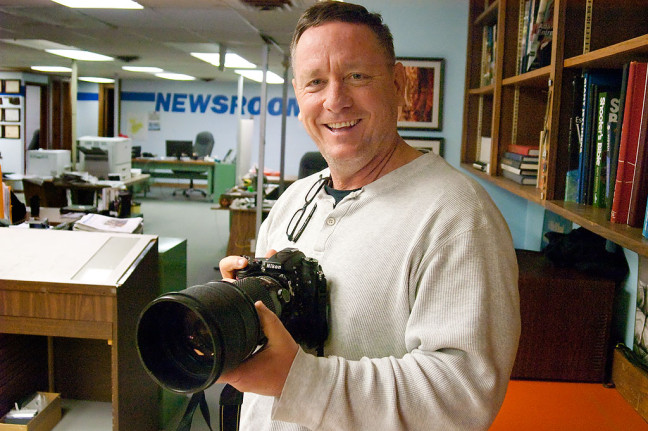 Scott Andersen, who I have known since we were photographers together at Oklahoma University a few short decades ago, test drives my 200mm f/2.0 lens this morning.