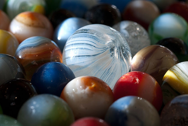 After I picked out the broken glass, washed and dried these marbles, of course I had to photograph them.