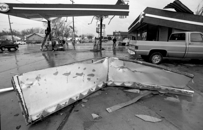 This is the filling station at the end of my block. After the tornado made this damaged, it continued to the college.