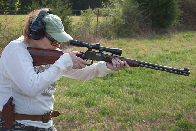 Abby takes aim with her .22 Magnum Winchester 1894 replica recently; Longmire carries one (in .30-30) in the television series, which is one of our favorites.
