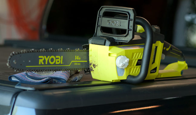 I was surprised by how lightweight and powerful my new Ryobi battery-powered chain saw is.