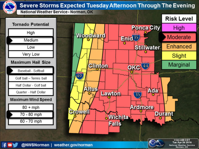"""As you can see, Oklahoma is in the red zone for severe weather tonight, though not in the """"high risk"""" category. If you zoom in on Ada far enough, you can see me waving."""