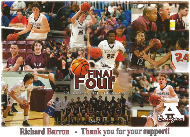 "Ada head coach for boys basketball Ron Anderson left this for me the other day, as a ""thank you"" for making so many photos during their season, including the ones in this collage."