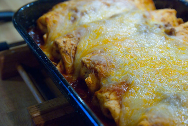 Abby makes enchiladas for me with Morningstar Farms veggie crumbles in place of ground beef. They are unbelievably good.