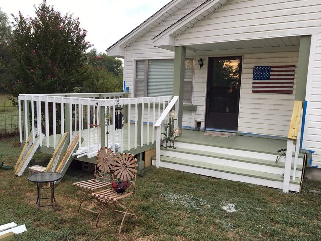 This is the porch and deck as they appeared first thing this morning. Aside from a couple of items to touch-up with some paint, it's finished and ready to enjoy.