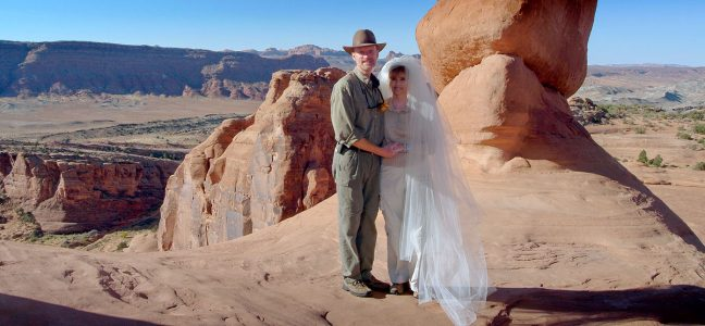Abby and I pose for a photo just moments after getting married 12 years ago this morning.