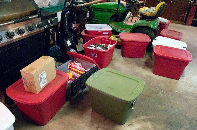The bins full of Christmas decorations sit on the floor in the garage last night. Cleaning the garage in the past weeks made this chore much easier. Would you call this a boxmageddon or a boxpocalypse?