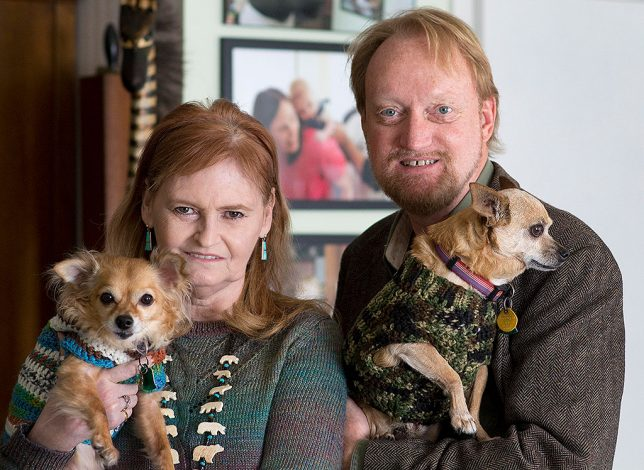 Abby and I pose with our Chihuahuas, Sierra and Max in January 2016, during a portrait session by Robert Stinson.