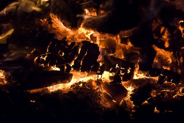 Brush pile fires are just as mesmeric as camp fires. I particularly like it when they go to coals.