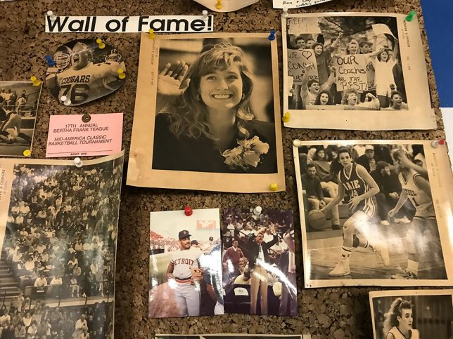 "This is Sports Editor Jeff Cali's ""Wall of Fame,"" a cork board behind his desk. Some of the items in this photo have been up there since 1990."