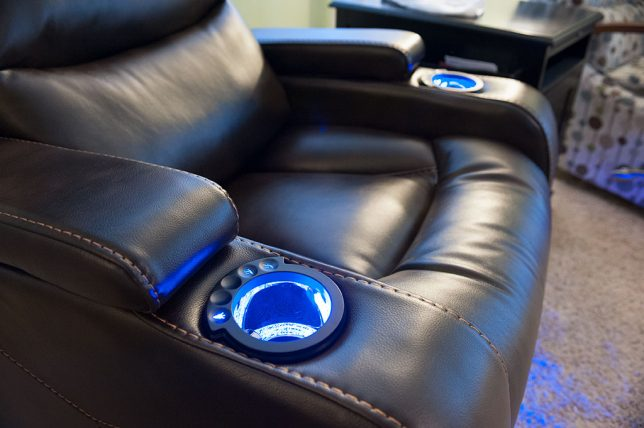 Abby's new recliner resembles a captains chair from Star Trek.