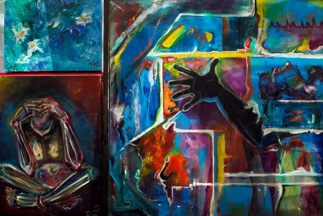 These are some of the paintings shown by long time Ada artist Darice Strickland last night at Open Mic Nyte.