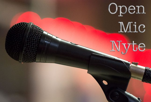 "I thought it would be fun to create an ""Open Mic Nyte"" logo with this microphone image, which I shot at the end of the September Open Mic Nyte."