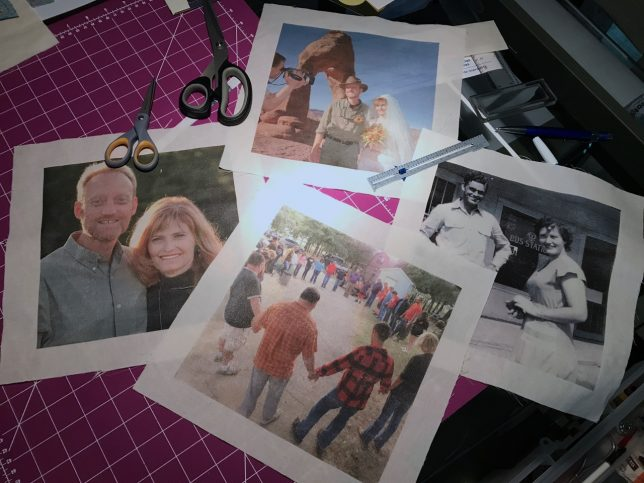 Abby and I used a fairly inexpensive transfer product to put photos on these quilt squares for the reunion quilt.