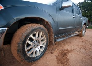 Abby's truck got caked with mud on the short but wild road on Aunt Judy's farm in Duncan.