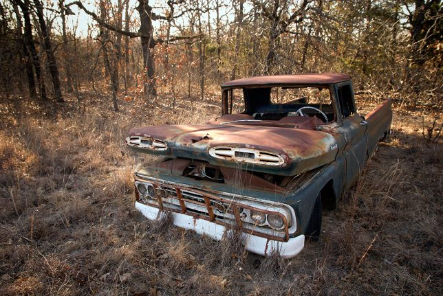 This old truck has been on the northeast corner of the Palmer's place for as long as I've lived here, more than 13 years. I have photographed it several times.