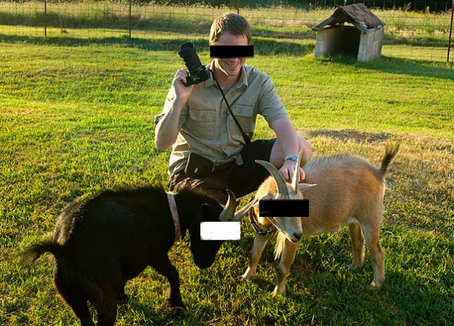Wil C. Fry (not necessarily his real name or face) and our late goats (not necessarily their real type of animal) are pictured together at an undisclosed location at a time in the past.
