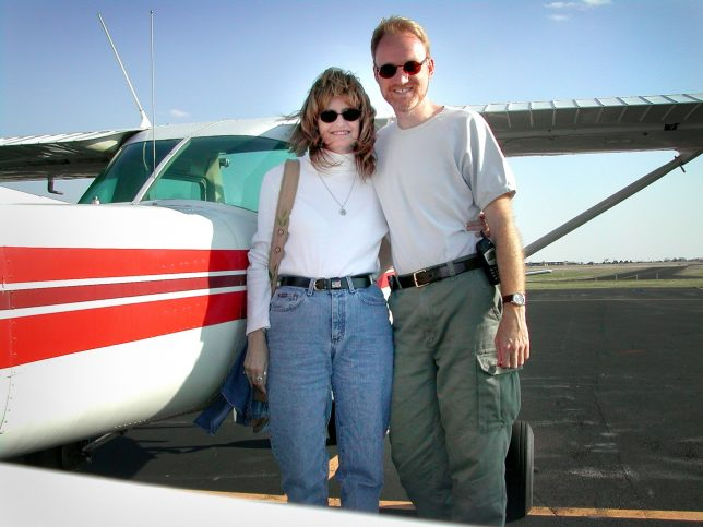 Abby and I pose with a rented Cessna 152 in Shawnee, Oklahoma in the spring of 2003.