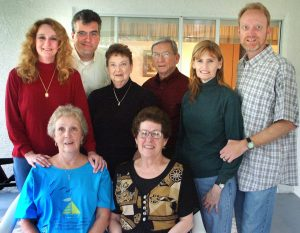 Abby fit right into my family. In this image, she and I pose with with my extended family the week Dad died in February 2005, just a few months after Abby and I got married. Abby is always there for us.