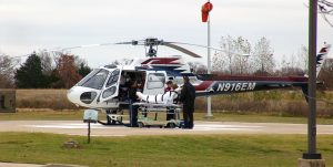 Abby is loaded onto an air ambulance at a hospital in Ada after suffering a heart attack in 2011. She had a stent inserted and made a full recovery.