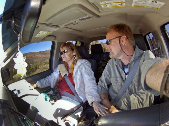 Abby and I rumble down a rough road in southern Utah on our 2016 vacation, The Endless Sky.