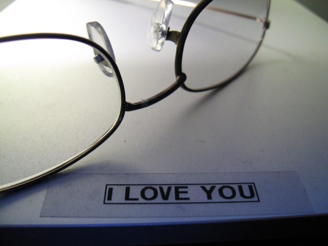 """When testing her new label maker, the first thing Abby typed was this """"I love you"""" label, which I still have."""