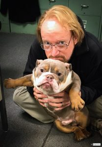 """Fiend,"" a coworker's bulldog, has become the defacto mascot of The Ada News."