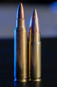 On the left is the ubiquitous 5.56mm NATO round. On the right is a popular derivative of the 5.56, the AAC .300 Blackout.