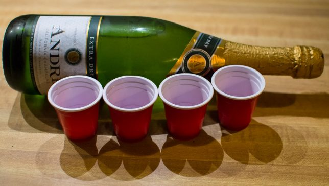 I thought a county new year deserved a country toast, so we had cheap sparkling wine (not technically champagne) and miniature red plastic cups.