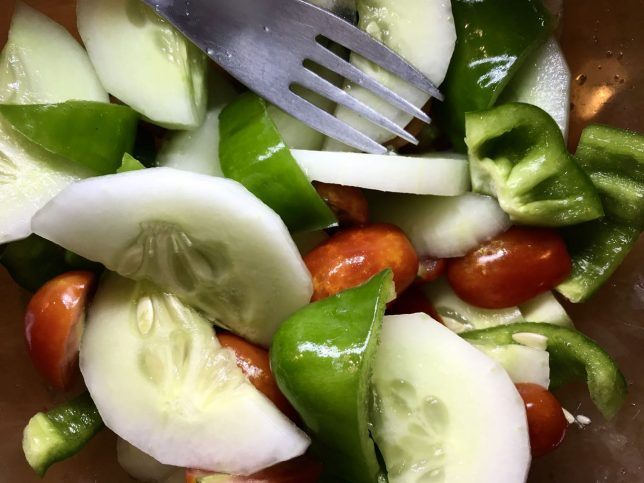 Summer is coming, and with it, many healthy foods from the garden, like this tomato, cucumber and bell pepper salad from last July.