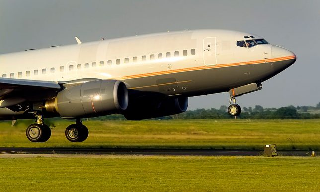 A Boeing 737 Classic makes a touch-and-go-landing at Ada Regional Airport recently.