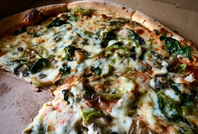San Remos Pizzeria in Ada is currently one of our favorite places for take out. This is their veggie pizza.