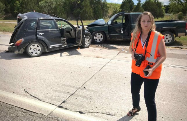 Ashlynd Elizabeth Huffman, our 2019 summer intern, looks completely serious as she covers a three-vehicle injury accident just west of Ada earlier this month.