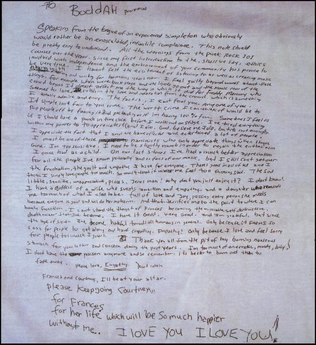 This is Kurt Cobain's suicide note.