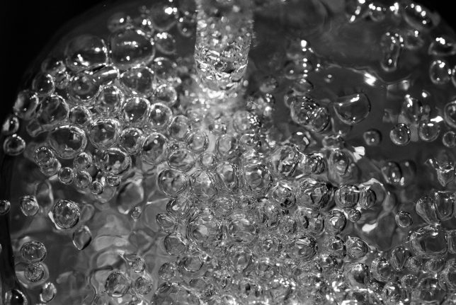 Water bubbles in my kitchen sink. We still have clean water.
