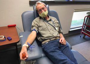 Your host prepares to donate blood Friday, May 22, 2020.
