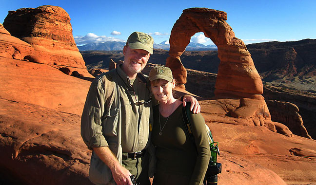 Richard and Abby visit Delicate Arch on their fifth wedding anniversary, October 2009.