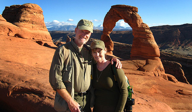 Richard and Abby visit Delicate Arch in Utah's Arches National Park, October 2009.