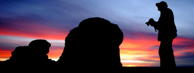 The author explores the Windows section of Arches National Park, Utah, at sunset, March 2011.