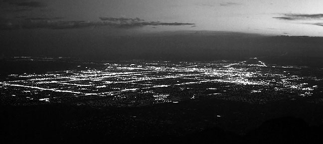 Albuquerque, New Mexico just after sunset viewed from Sandia Peak 5000 feet above.