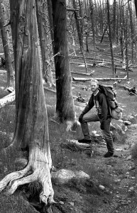 The author hikes the Lincoln Lake trail, which, at five miles and 3000 feet elevation gain, took about eight hours to hike with full packs.