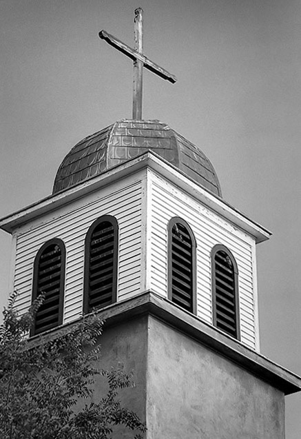 Catholic mission steeple, Madrid, New Mexico.