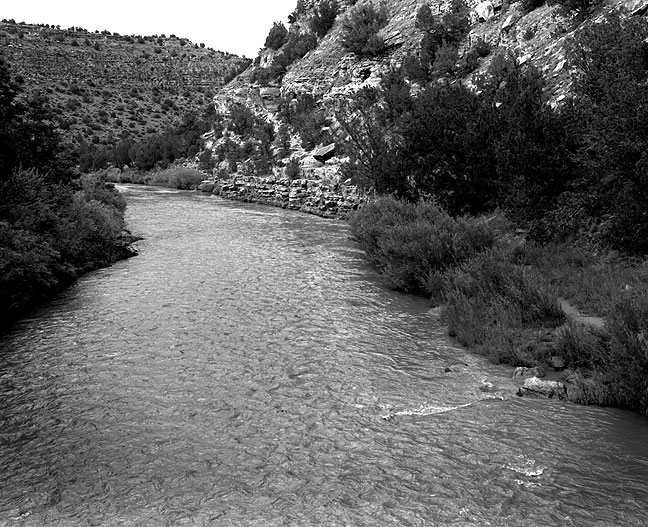 The Pecos River from bridge at Villanueva State Park, News Mexico.