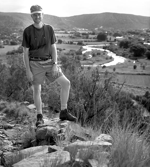 The author poses for a photo at the top of a short hike at Villanueva State Park, New Mexico.