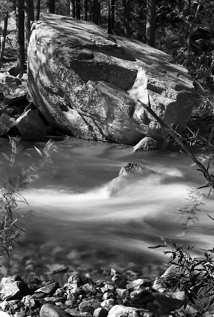 Stream, Pecos Wilderness, northern New Mexico; I made this image on a roll of Kodak Plus-X film that had expired nine years earlier.